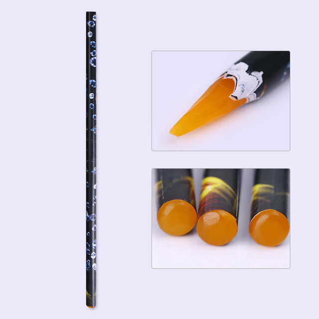 1Pc Wood Picking Up Wax Pen Nail Rhinestone Picker Up Dotting Pen Easily Colorful Manicure Nail Art Tool Random Color