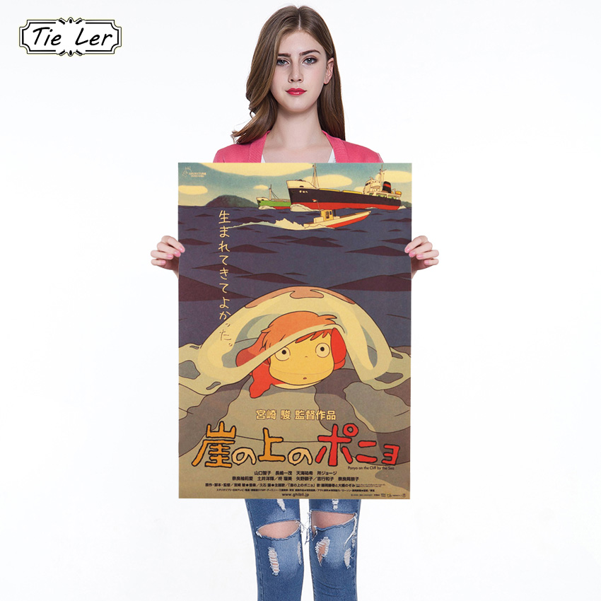 Classic Cartoon Movie Ponyo On The Cliff Kraft Paper Poster Retro Movie Bar Cafe Home Decorative Painting Wall Sticker