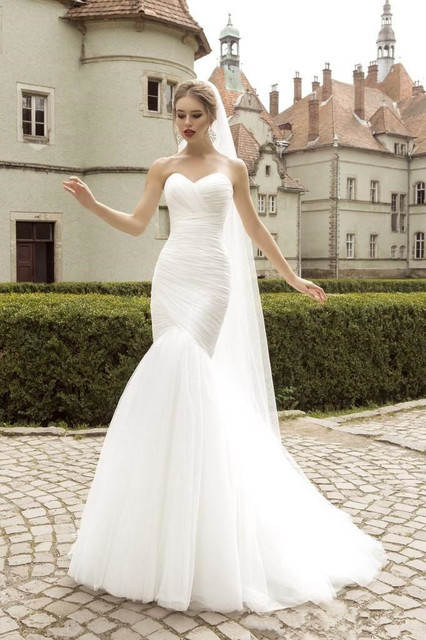 EM426 New Simple Design Mermaid Wedding Dress Lace Up Back Designer ...