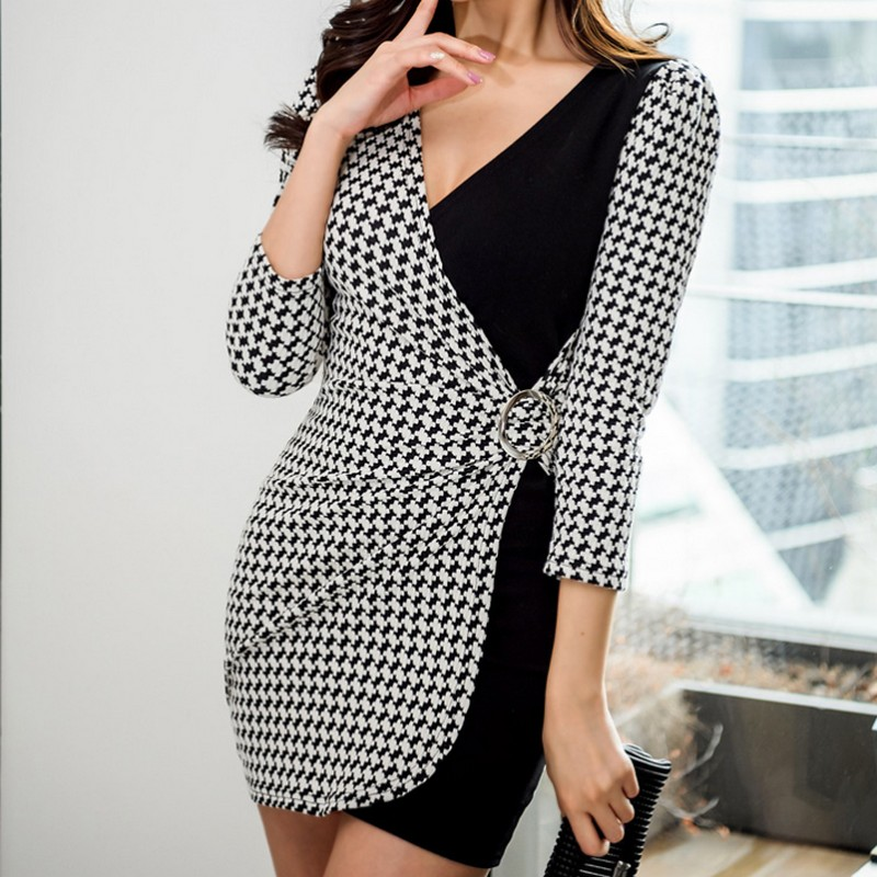 Spring Korean Style plus size Metal Ring Decoration Women Dress Color Matching Houndstooth Tight Office Lady Style Female Dress in Dresses from Women 39 s Clothing