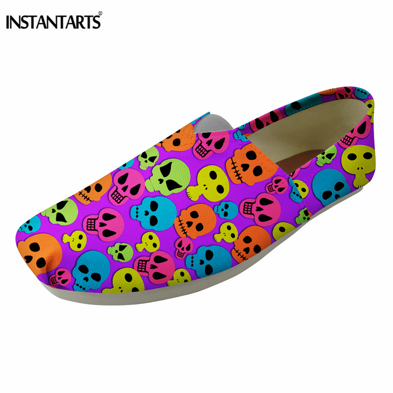 INSTANTARTS Fashion Women Canvas Flat Shoes Casual Slip On Skateboarding Shoes Girls Lady Summer Breathable Loafer Shos Female