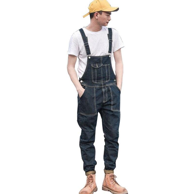 MORUANCLE Fashion Men's Denim Bib Overalls Cargo Tactical   Jeans   Jumpsuits For Man Multi Pockets Suspender Pants Size M-XXL