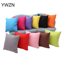 YWZN Solid Color Pillow Case Simple Candy Color Pillow Case Decorative Pillowcases Cover(China)