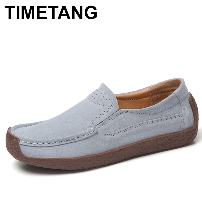 TIMETANGSpring Autumn Women Moccasins Women's Flats Genuine   leather   Shoes Woman Lady Loafers Slip On   Suede   Shoes mocasines mujer