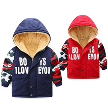 New Winter Warm Boys Parkas Plus Velvet Kids Outerwear Hooded Coats Snow Wear for baby coats