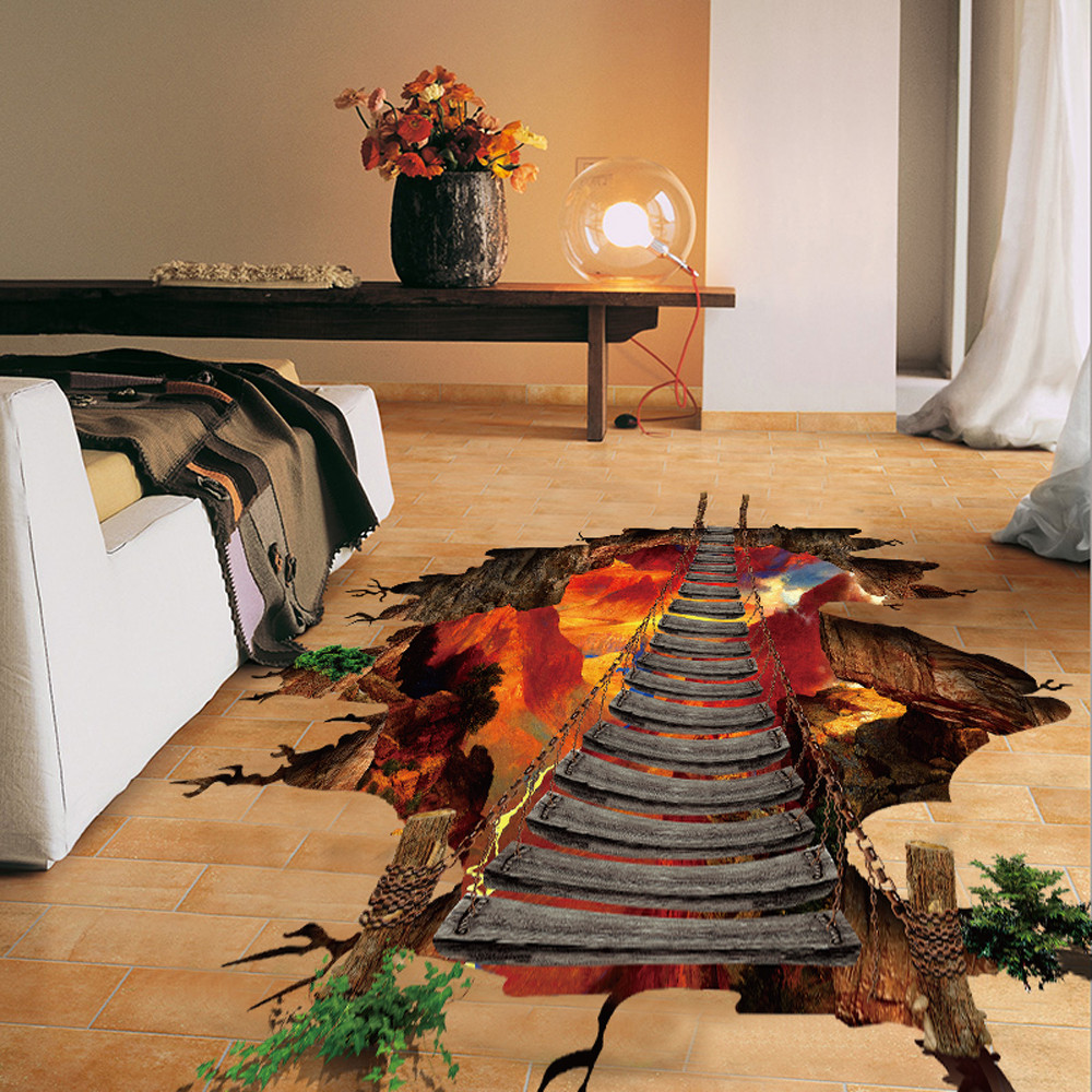 3D Wall Stickers Flaming Floor Decoracion Hogar Removable Mural Decals Vinyl Art Living