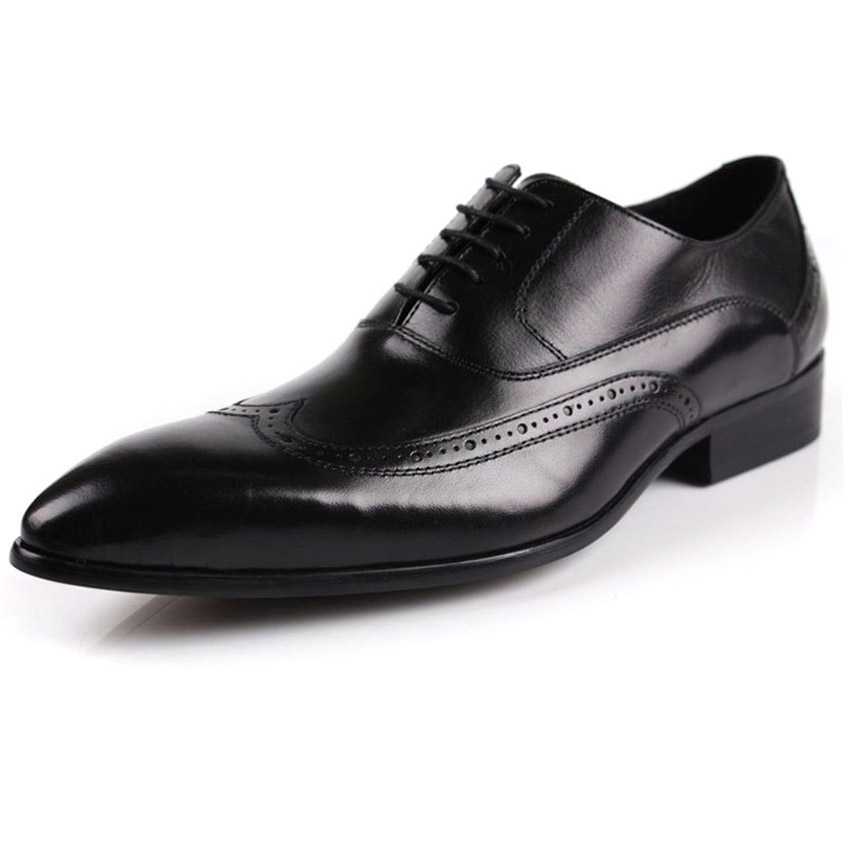 ФОТО 2017 fashion men's pointed toe lace-up carved cowhide genuine leather brogue oxfords men's dress commercial wedding party shoes