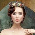 Barroco Colorido Corona nupcial pelo de la boda accesorios de oro Pendientes de joyería de perlas nupcial conjuntos