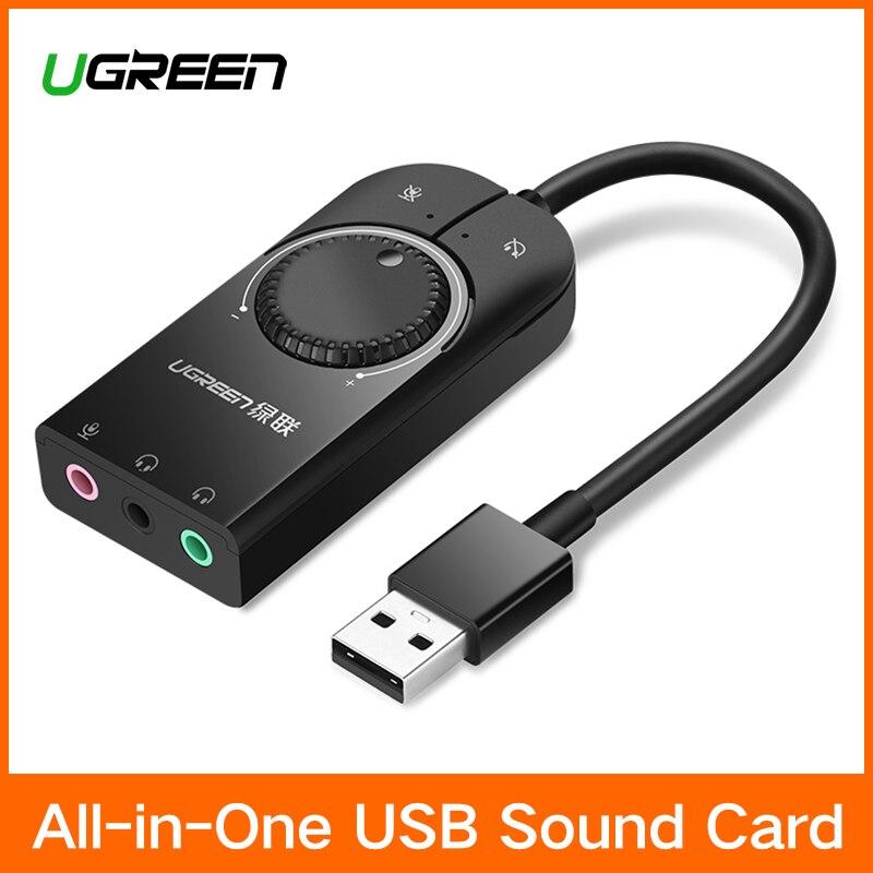 Ugreen USB tarjeta de sonido externa tarjeta de Audio de 3,5mm USB adaptador USB a Auriculares auriculares interfaz de Audio para sonido tarjeta