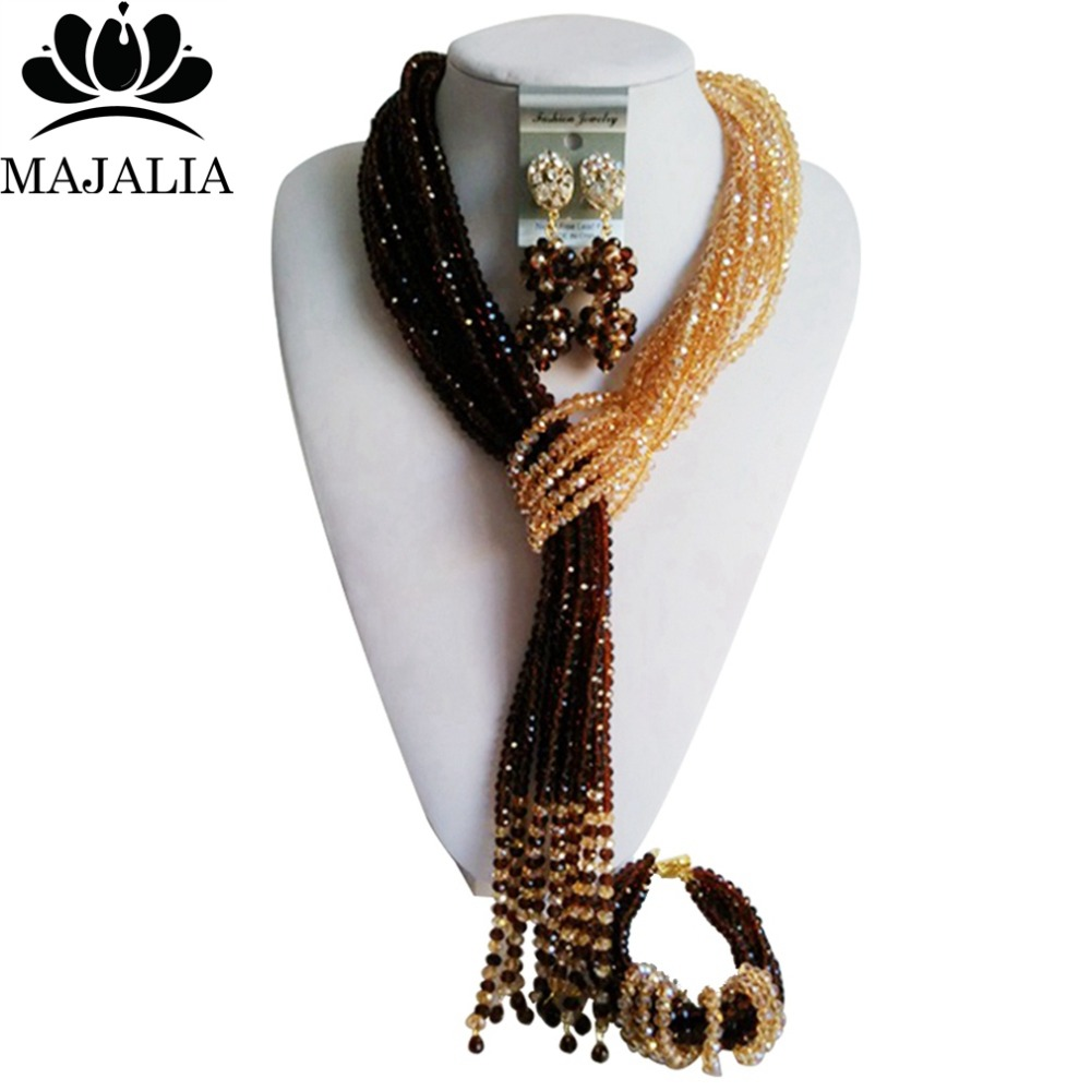 Trendy Nigeria Wedding african beads jewelry set black and Brown Crystal necklace bracelet earrings Free shipping VV-255Trendy Nigeria Wedding african beads jewelry set black and Brown Crystal necklace bracelet earrings Free shipping VV-255