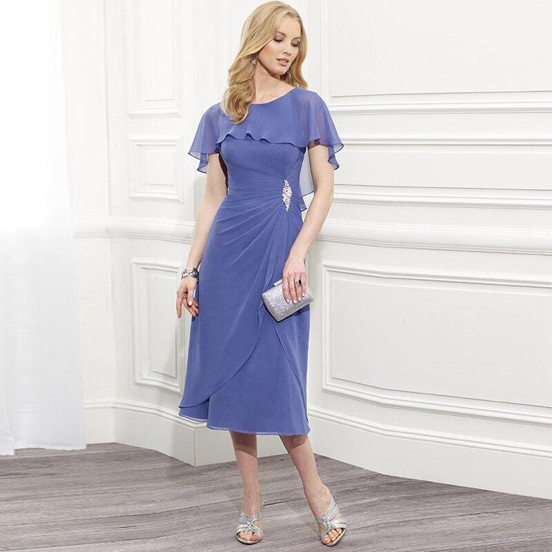 шифоновых линия дешевые мать невесты платья чай длина совок красоты простой vestido де феста свадебное платье партии h217