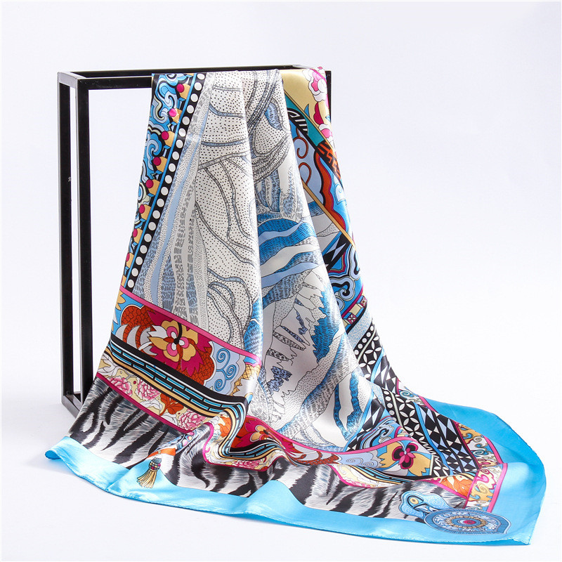 2018 Retro Ethnic Big Square Scarf Scarves For Women Fashion Geometric Leopard Pattern Scarf Autumn And Winter Female Scarf Shaw