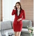 Primavera Outono Senhoras Blazer Vermelho Mulheres de Negócio Ternos Escritório Formal Ternos Roupas Desgaste Do Trabalho Conjunto de Saia e Casaco Elegante