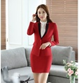 Spring Fall Ladies Red Blazer Women Business Suits Formal Office Suits Work Wear Clothes Skirt and Jacket Set Elegant