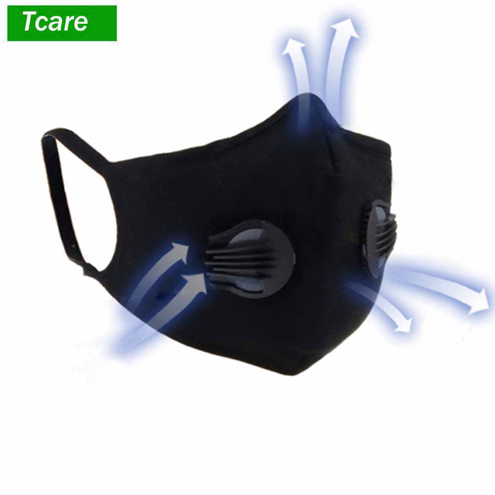 1Pcs Cotton Respirator Mask With Breathing Valve Washable Activated Carbon Filter PM2.5 Mouth Masks Anti Dust