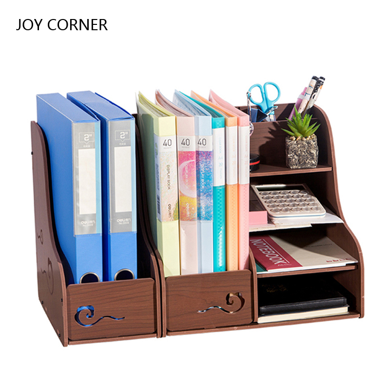Desktop Paper Holder Stationery Organizer Buro Accesoires Material Escolar Office Accessories Display Stand JOY CORNER 2018 best promotion four pockets clear desktop office counter acrylic business card holder stand display fit for office school