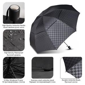 Image 3 - Double Layer Big Umbrella Rain Women Men 3Folding 10K Windproof Business Umbrellas Male Dark Grid Parasol Family Travel Paraguas