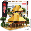 3D puzzle paper building model DIY toy hand work game gift wild China Bamboo House of Dai People world's great architecture set