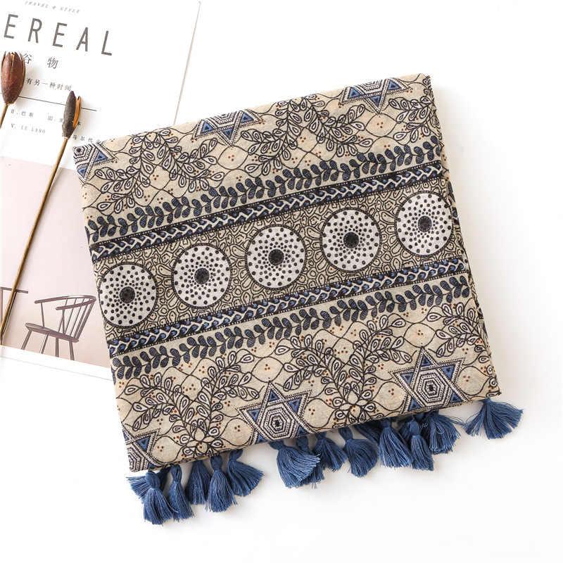 KYQIAO женский этнический Винтажный Длинный шарф с принтом и кисточками из Пашмины