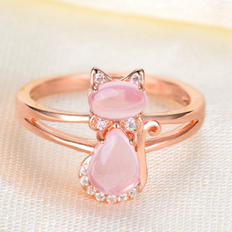 Rose Gold Natural Pink Crystal Cat Ring White Copper Plated  Drop Shipping Rose Gold Color Cute Cat Animal Pink Opal Rings