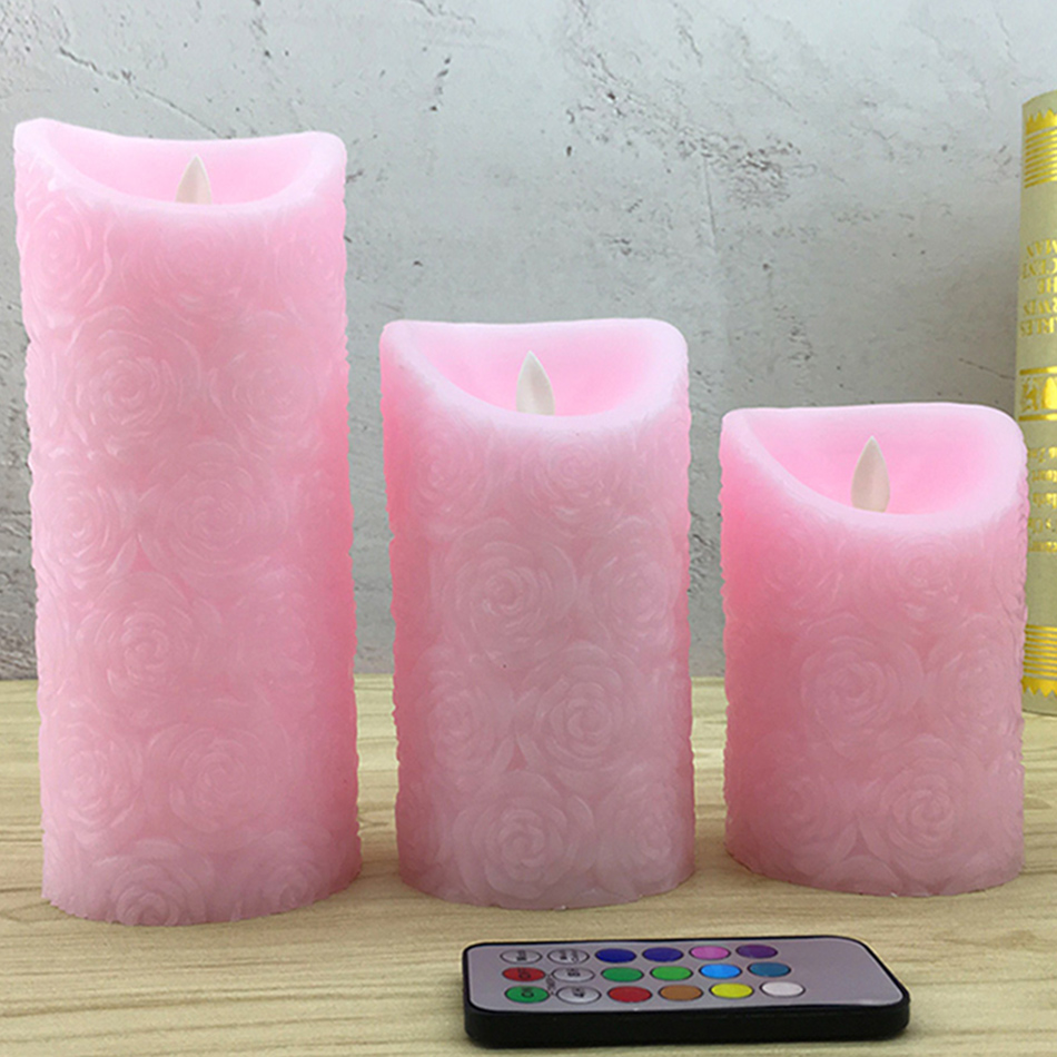 Lovely wireless remote led night light,Made by real wax and timing, Unique pink rose embossed finishing, Mini.table lamp dfl 3x6 inch flameless real wax pillar electronic led candle with timer with embossed gold pearl