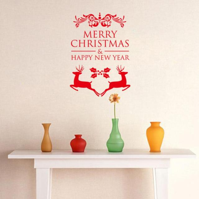 Aliexpresscom Buy Free Shipping Vinyl Removable Paper Run Deers - Christmas wall decals removable