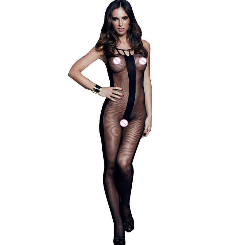 Buy FGirl Sexy Erotic Lingerie Women Stockings Body Suit Latex Pajamas Stripes Sheer Crotchless Bodystocking FG31113