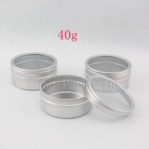 Image 3 - Recipientes de alumínio vazios do creme dos cuidados com a pele 40g x 100 com tampa da janela, tampa de alumínio da janela do frasco do metal, potenciômetro da lata da garrafa do metal