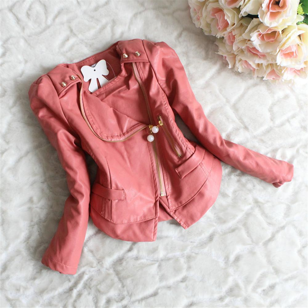 c41ce8333893 2018 Spring Children Girls PU Leather Outerwear Jackets Toddler ...