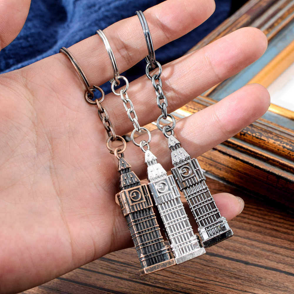 London Clock Model Small Keychain Souvenir Gift 3D Metal London UK British Souvenir MINI Big Ben Key Chain For Festival