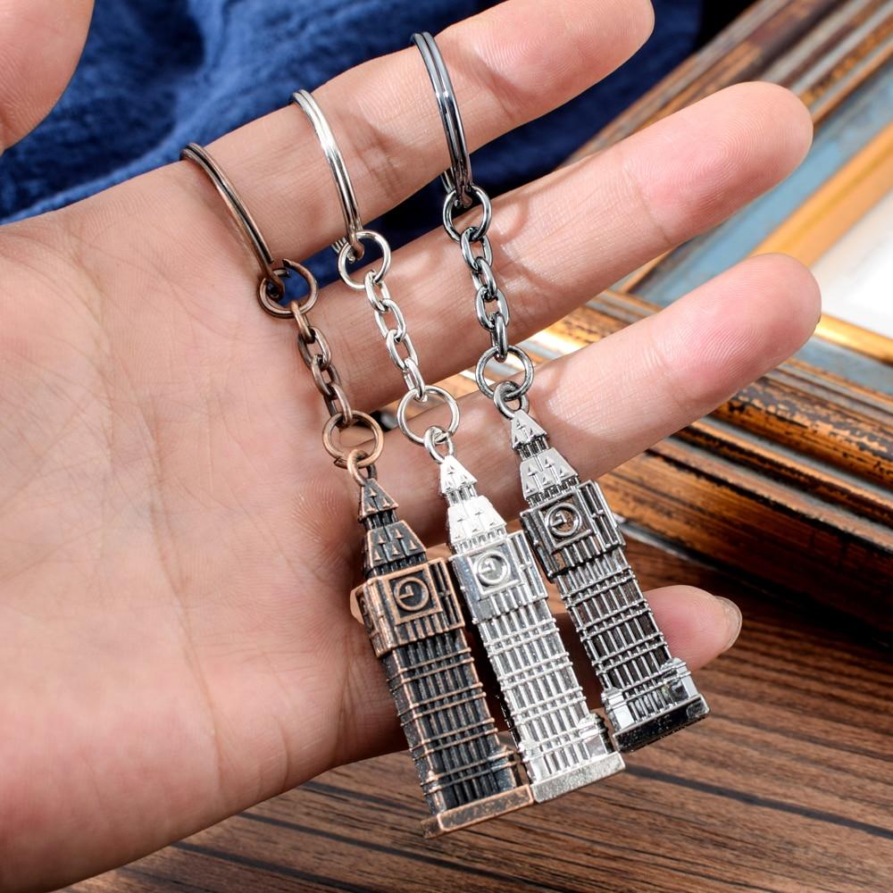 London Clock Model Small Keychain Souvenir Gift 3D Metal London UK British Souvenir MINI Big Ben Key Chain For Festival