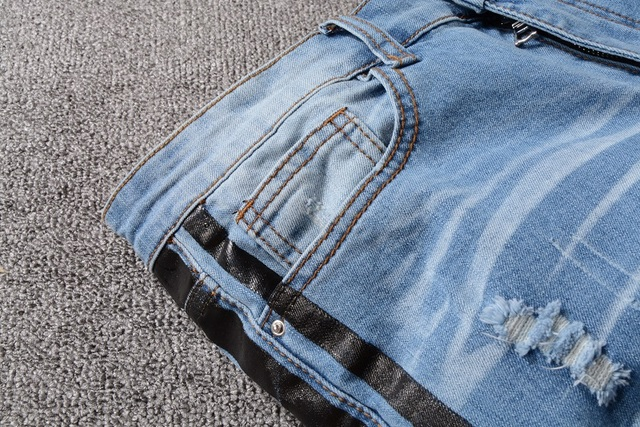 New Italy Style #5312# Men's Distressed Hollow Out Pants Black Sides Blue Denim Skinny Jeans Slim Trousers Size 28-40
