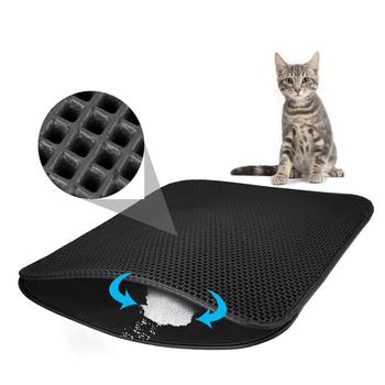 Wodoodporny kot domowy ściółka EVA dwuwarstwowa ściółka podkładki dla kotów pułapka Pet kuweta Mat produkty dla zwierzaka domowego łóżko dla dom dla kotów czysty tanie i dobre opinie cats 30x45cm 40x50cm 46x60cm 46x60cm Foldable 55x70cm Foldable