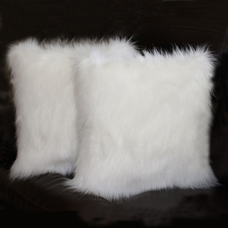 White Fluffy Faux Fur Long Couch Pillows Lumbar Throw Pillow Without