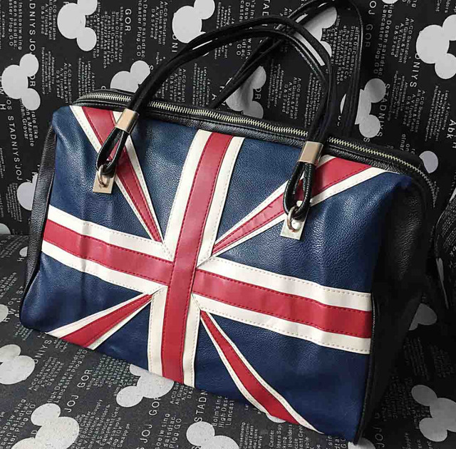 Fashion Women S Punk Rock Vintage Leather Handbag Union Jack British Flag Uk Hobo Retro Shoulder Tote