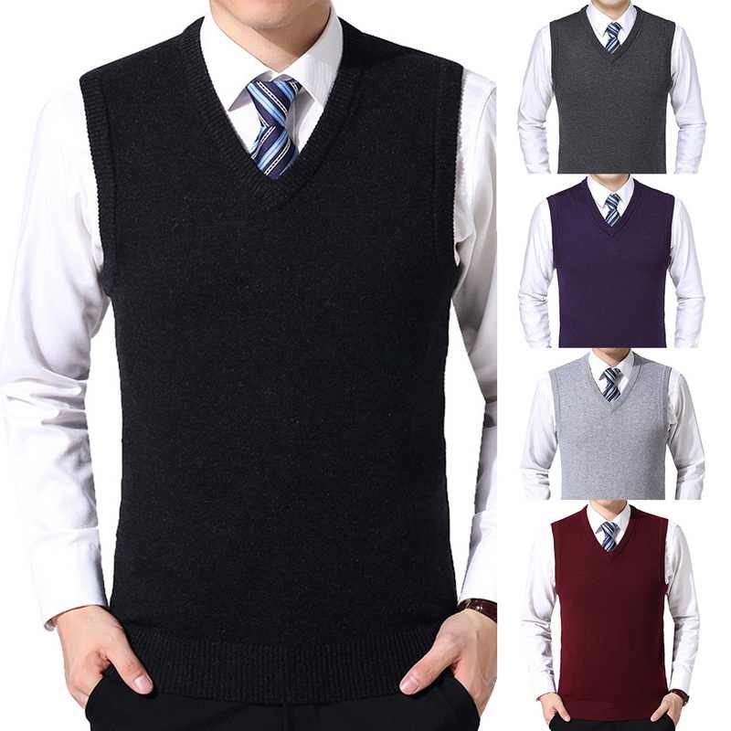 HEFLASHOR 2019 Mens Solid Sweater Vest Men Wool Pullover Brand V-Neck Sleeveless Hombre Knitwear Vest Winter Casual Clothes Tops