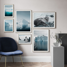 Iceberg Seal Penguin Nordic Posters And Prints Wall Art Canvas Painting Antarctica Scenery Pictures For Living Room Decor