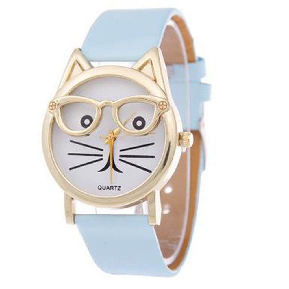 New Fashion Watch Girl Cute Glasses Cat Women Analog Children Quartz Dial Sports Daily School Wrist Watches F80