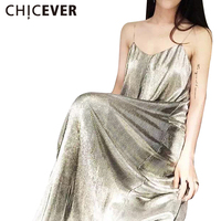 CHICEVER Spring Metal Chain Straps Backless Casual Loose Long Sex Dress Women New Silver Gold