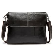 все цены на Fashion Flap Bag Men Simple Fashion Messenger Bag Genuine Leather Casual Work Bag Male Designer Real Leather Shoulder Bag онлайн