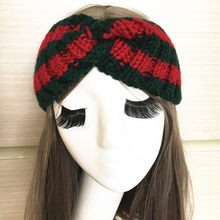 2019 New Wool Cross Knot Headband Fashion Luxury Brand Elastic Green Red  Turban Hairband For Women 98ff1fd4f78