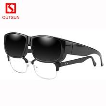 fc9b0cb318a8a OUTSUN 2019 NOVO DESIGN Unisex Ajuste Polarizado Sobre Óculos De Sol Dos  Homens Sobre A Prescrição