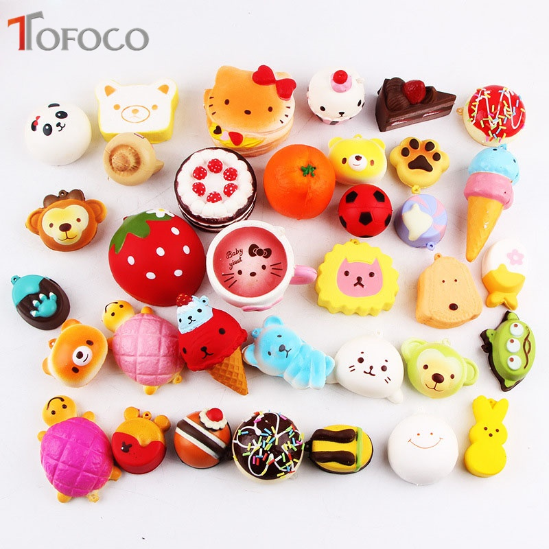 TOFOCO New 10/15/20pcs Kawaii Squeeze Doughnut Ice Cream Squishy Panda Cake Squishe Food Slow Rising Toys Antistress Scented