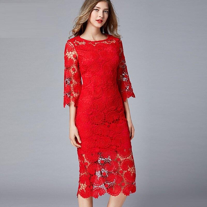 แฟชั่นสุภาพสตรี elegant ชุดลูกไม้ยาวหญิง hollow out party flare แขนยาว longos vestidos การเพาะปลูกเสื้อ L XXXXXL 5XL-ใน ชุดเดรส จาก เสื้อผ้าสตรี บน   1