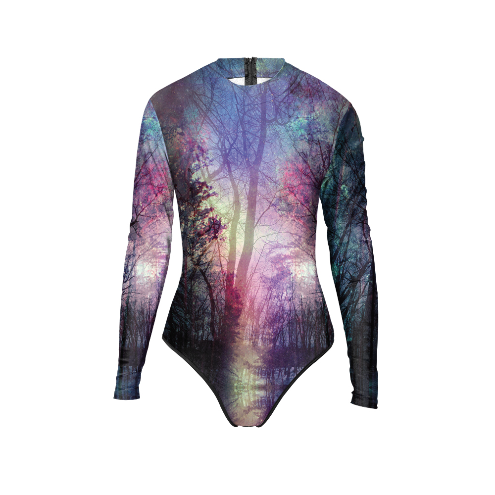 New 017 Girl Summer Aurora Sky Galaxy Starry Tree Prints Zip Long Sleeve One Piece Swimsuit Monokini Women Swimwear Bathing Suit new 047 girl adventure time princess bubblegum prints zip long sleeve one piece swimsuit monokini women swimwear bathing suit