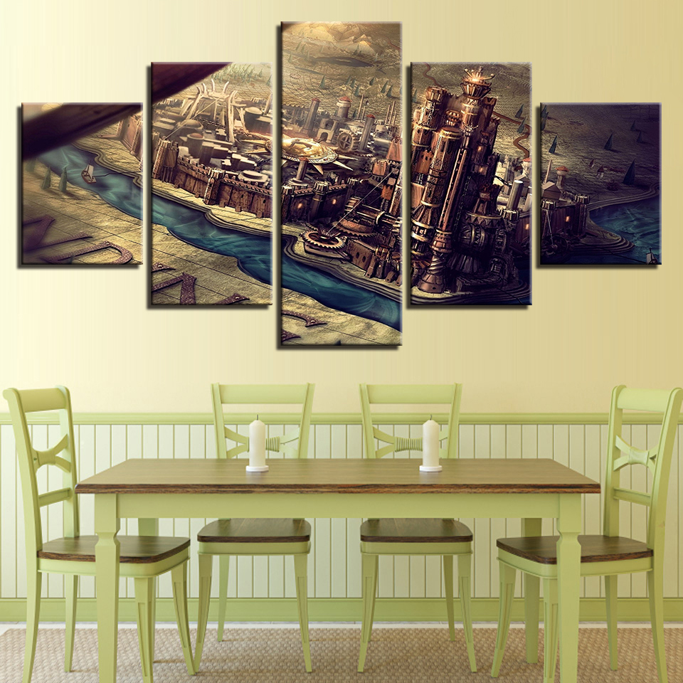 HD Prints Canvas Pictures Living Room Wall Art Map Posters 5 Pieces ...