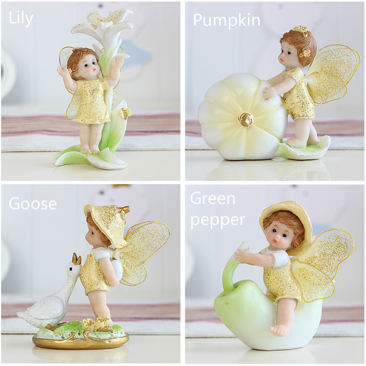 Fairy Flower Angels Ornament Miniatures Resin Bonsai DIY Fairy Garden Decor HG
