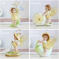 4pcs/set Cute Miniatures Fairy Garden Decorations Flower Angels Resin Fairy Micro Plant Ornament Decoration Mini Bonsai Figurine
