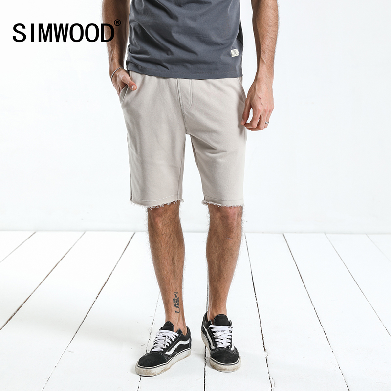 SIMWOOD 2019 Summer Knee Length   Shorts   Men Raw Hem Drawstring Sweatpants Jogger   Short   High Quality Brand Clothing 180024