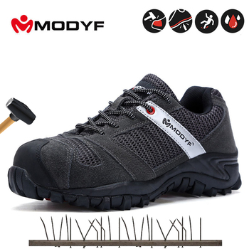 Modyf Mens Black Safety Shoes With Steel Toe Cap Work boots Protective Footwear Outdoor Working Shoes